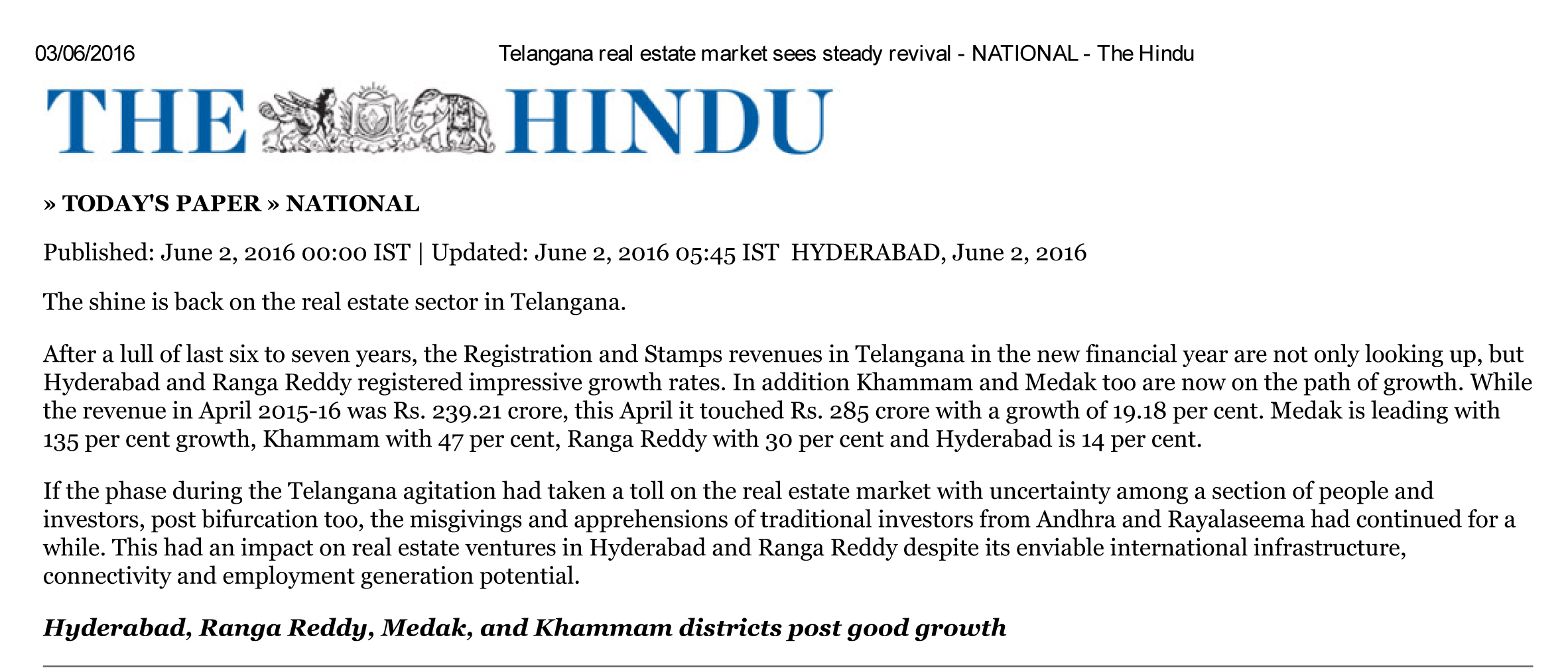 Telangana real estate market sees steady revival