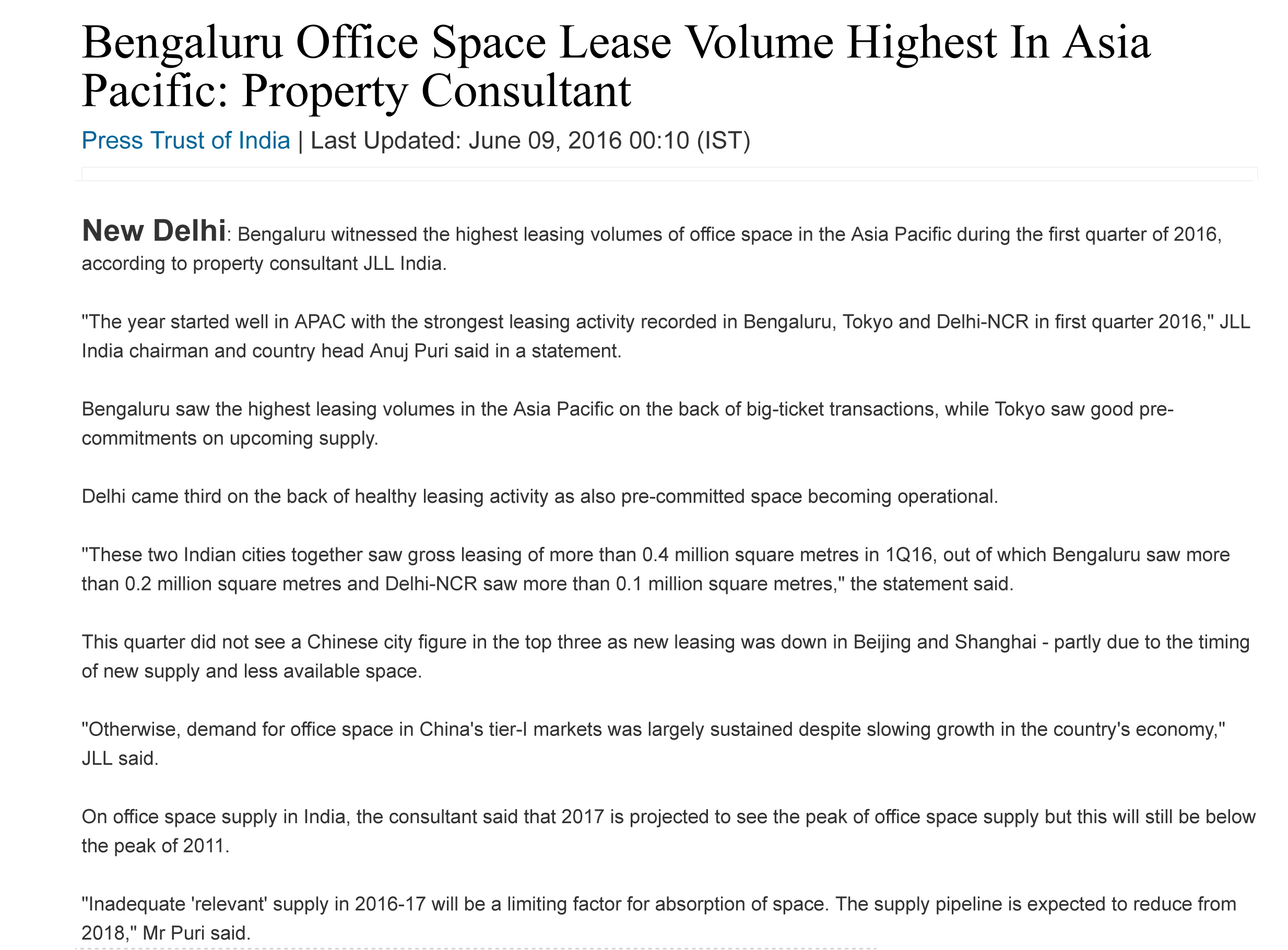 Bengaluru Office Space Lease Volume Highest In Asia Pacific