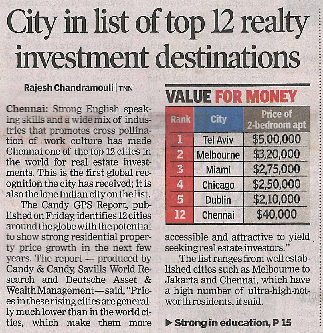 City in list of Top 12 realty investment destinations
