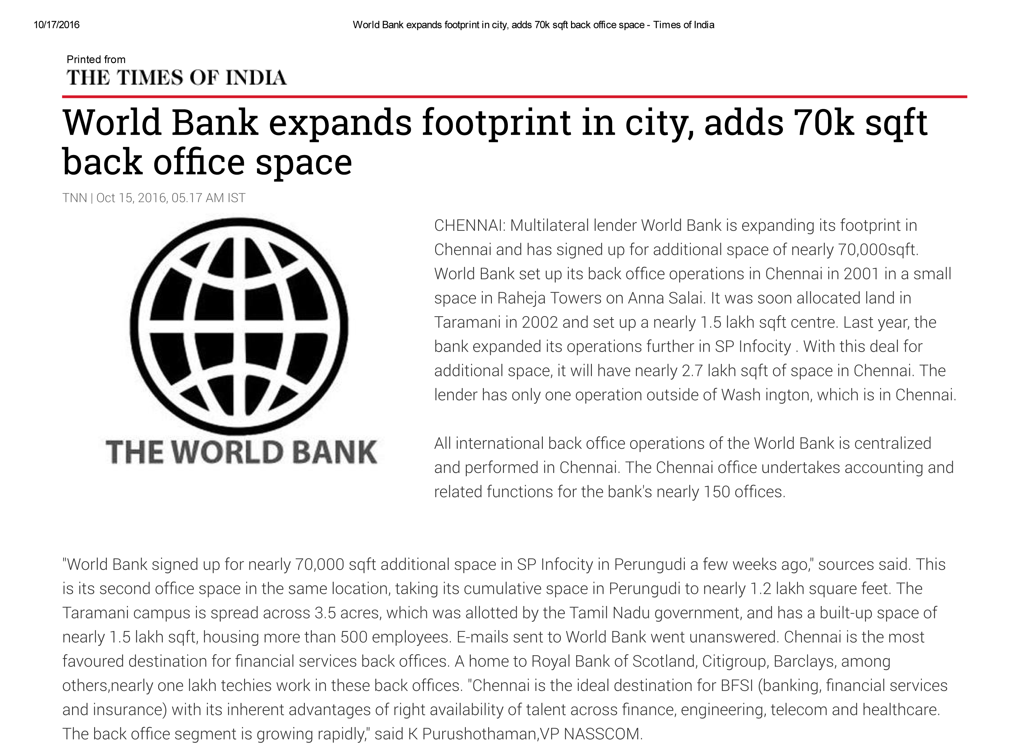 World Bank expands footprint in city, adds 70k sqft back office space