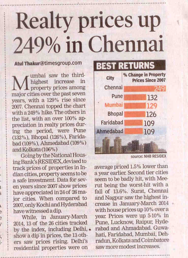Realty prices up in Chennai