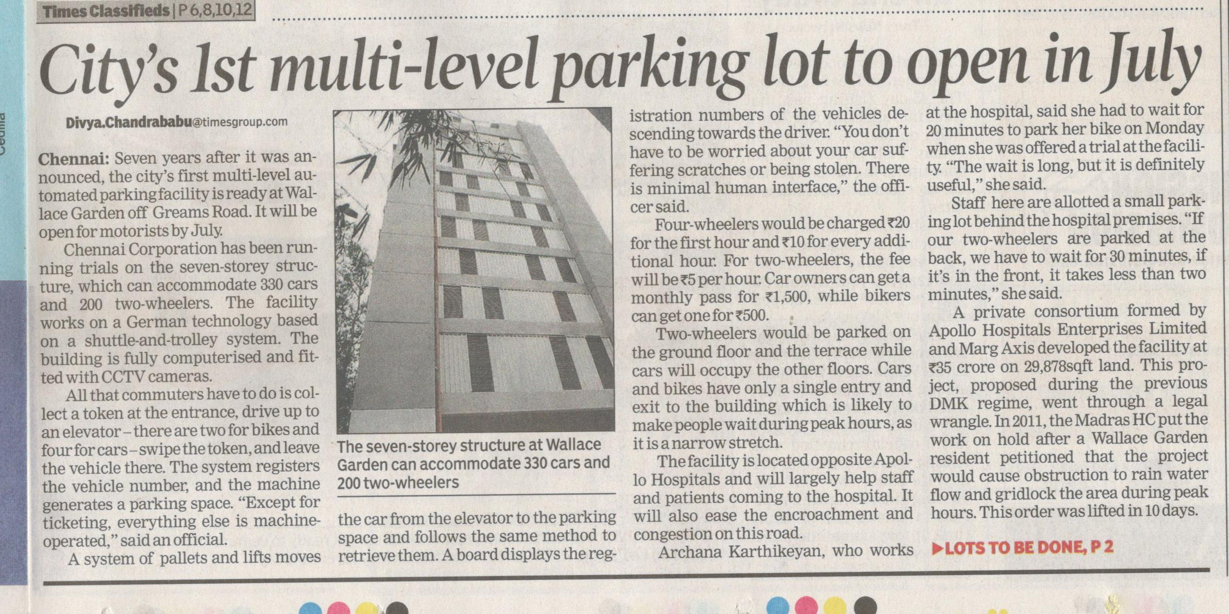Multi-Level Parking Facility setup by Apollo Hospitals near by Hanu Reddy Residences