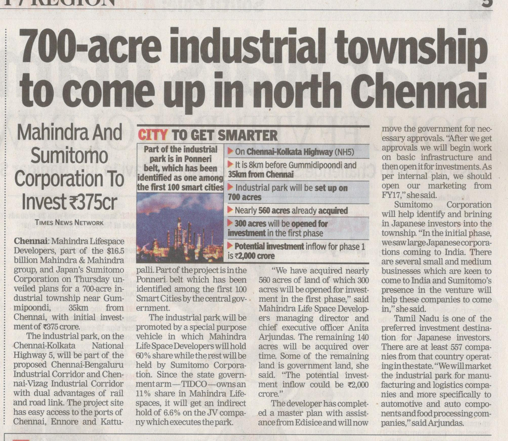 700 Acre Industrial township to come up in North Chennai